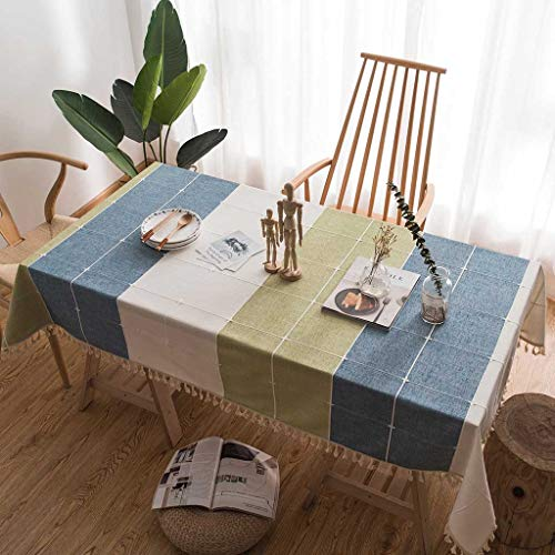 - RXIN Square Linen Tablecloth Knitted Embroidered Table Cover with Lace Cotton Tassel for Home Decoration