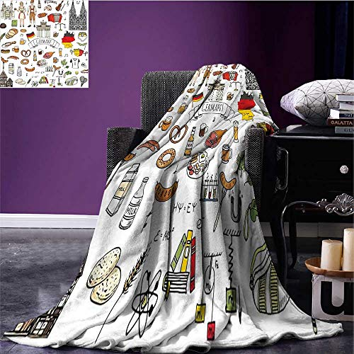 sunsunshine German Lightweight Blanket Hand Drawn Doodle of German Culture Icons Football Jersey Food Science and Music Print Summer Quilt Comforter Multicolor Bed or Couch 70