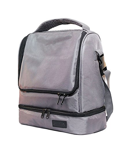 Lunch Bags For Women and Men Chillax - Large Insulated LunchBox Dual Compartments Perfect Box for Meal Prep - Premium Bag For Bento Boxes - Gray