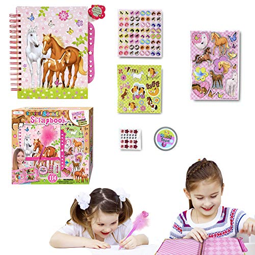 SMITCO Horse Gifts for Girls - Scrapbook Craft Kit for Kids 5 to 10 Years Old - Hardback Secret Set with Passcode Lock to Keep Her Secrets Safe, Stickers, Jewels, Tape and Pen in Horses Theme -