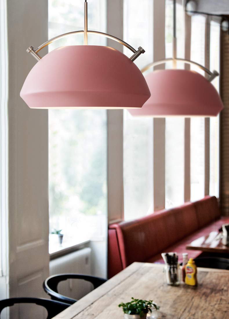 DECORATZ LED Modern Simple Wrought Iron Chandelier,LED Aluminum Pendant Light Fixture for Kitchen Antique Style Lampshade Bedroom Study Lighting-Pink