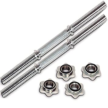 Physionics HSTA12 - 2 barras de mancuerna (roscada, 28 mm de diámetro, 45 cm de largo, incluye 4 cierres de rosca): Amazon.es: Deportes y aire libre