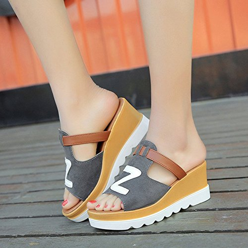 Summer Bottom Beach High Wedges Grey Heels with Sandals Thick Slippers JULY T Letters Women's 6xFqqEY