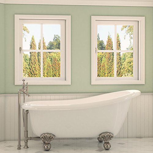 Luxury 67 inch Clawfoot Tub with Vintage Slipper Tub Design in White, includes Brushed Nickel Ball and Claw Feet and Drain, from The Glendale Collection