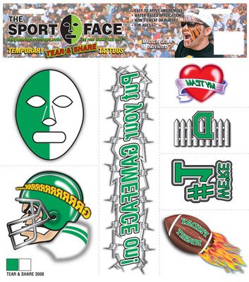 (The Gameface Company Sport Face Tear and Share Green and White Team Temporary Tattoo)