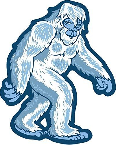Yeti bigfoot sasquatch walking sticker abominable snowman monster vinyl decal label euro die-cut shape for water bottle luggage bike laptop car bumper growler thermos cooler waterproof squatch hunter