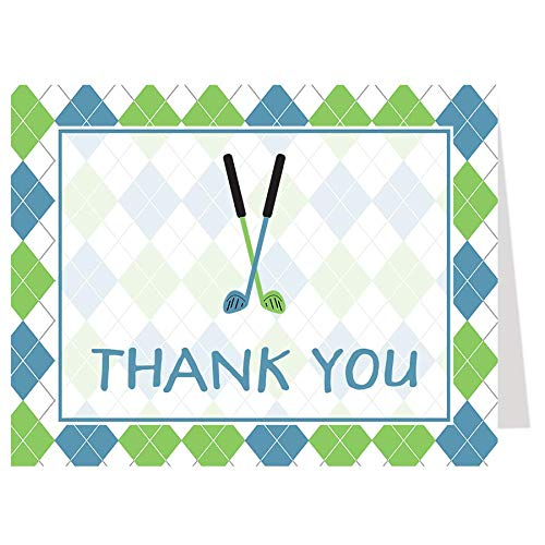 Note Driver Cards - Golf Baby Shower Thank You Cards Little Putter Birthday Party Sports Sprinkle Golf Theme Argyle Blue Green Putter Putt Putt Tee Par-tee Clubs Driver (50 count)