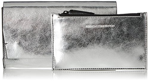 French Connection Damen Contemp Slide Lock Phyllis Clutch, 2.5x11x19 cm Silber (Silver)