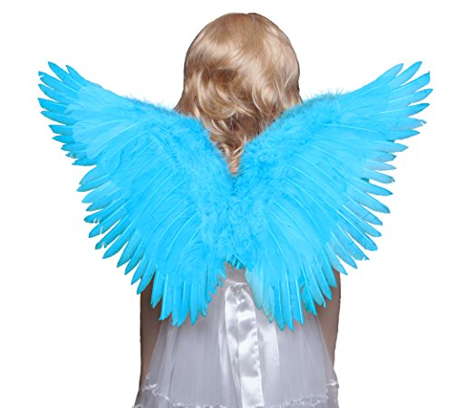 Blue Angel Wings Costume (FashionWings (TM) Children's Blue Butterfly Style Costume Feather Angel Wings)