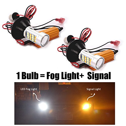 Super Bright Automobile Dual-Color LED Bulbs with Focused Beam Switchback LED Fog Lights/Turn Signal Lights Kit, 66 SMD with Projector Lens. TOP QUALITY (2-PACK) (1156 BAU15S, White/Amber) MONDES