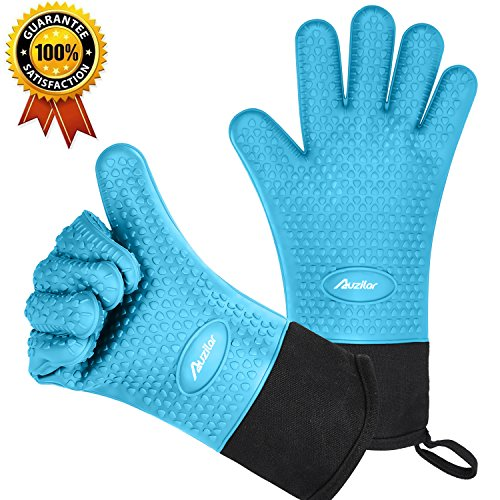 Silicone Oven Mitts Extra-long Heat Resistant Mitts Kitchen Gloves with Internal Cotton Lining for Cooking Pot Holder Grilling BBQ Baking Oven Fireplace Camping Kitchen and so on (Non Stick Silicone Oven Mitt)