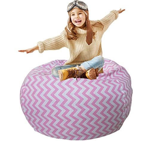 - Kids Bean Bag | Toy Storage | Children's Chair Cover | Children Chair | Soft Toy Bag | Kids Toys Organizer | Bean Bag Cover | Comfy Chair Comfortable Seating for Kids Pink Wave Stripes