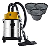 Happyjoy 20L Wet and Dry Industrial Vacuum Cleaner 20 Litre 1200W with Blower includes FREE 3X Dust Bags Stainless Steel - High Suction Power