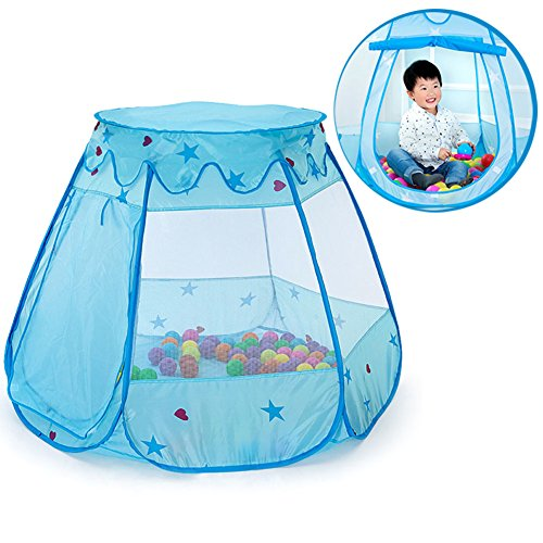 Anyshock Folding Ball Pit Play Tents Indoor and Outdoor Princess Large Space PlayHouse Castle Tent Toys as a Best Gift for 1 to 8 Years Old Kids Boy Girls Baby Infant (Ball Not Include),Blue