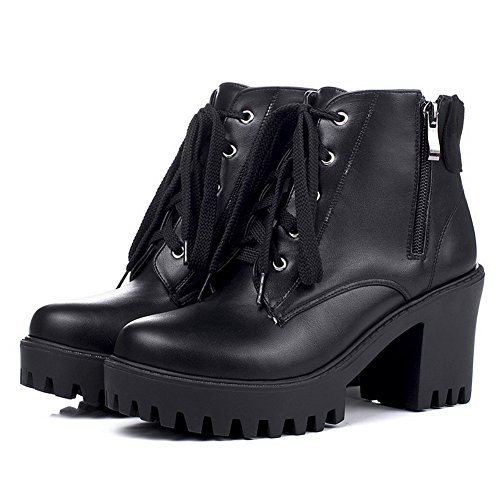 AllhqFashion Womens Round Closed Toe High Heels Low Top Solid Boots Black