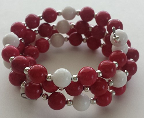 Red Howlite, White Mountain Jade, Silver-Plated Memory Wire Bracelet