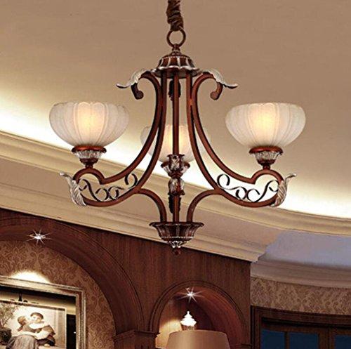 TUNBG 110-240V E27 , 3-Light Chandelier with Stripe Antique Glass Bowls ( Diameter 68CM, high 49CM), 3-Arms Bronze Iron Pendant Light with Flower - Pendant Stripes Bronze White