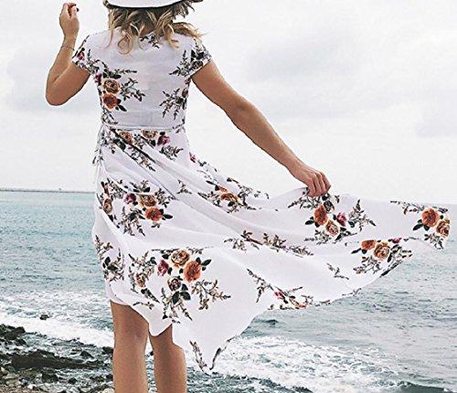Spring Women Hem Sleeves Floral Dress Beach Short White Unbalanced Coolred qEYBdwp