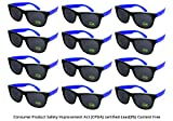 Edge I-Wear 12 Pack Neon Party Sunglasses with CPSIA Certified Lead (Pb) Content Free and UV 400 Lens 5402R/RBU-12 (Made in Taiwan)