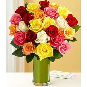 Two Dozen Rainbow Roses (with FREE glass vase) - Flowers