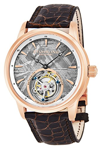 Stuhrling Original Mens Mechanical Tourbillon Watch, Grey Meteorite Dial, Sapphire Crystal, Stainless Steel, Genuine Alligator Leather Strap with Dual Deployant Clasp, 860 Series Limited Edition