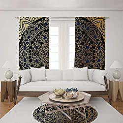 2 Panel Set Satin Window Drapes Living Room Curtains and Round Rug 35.4 inches,Vintage Mandala Lotus Inspired Ethnic Ethnicity,The perfect combination of curtains and Round Rug makes your living room