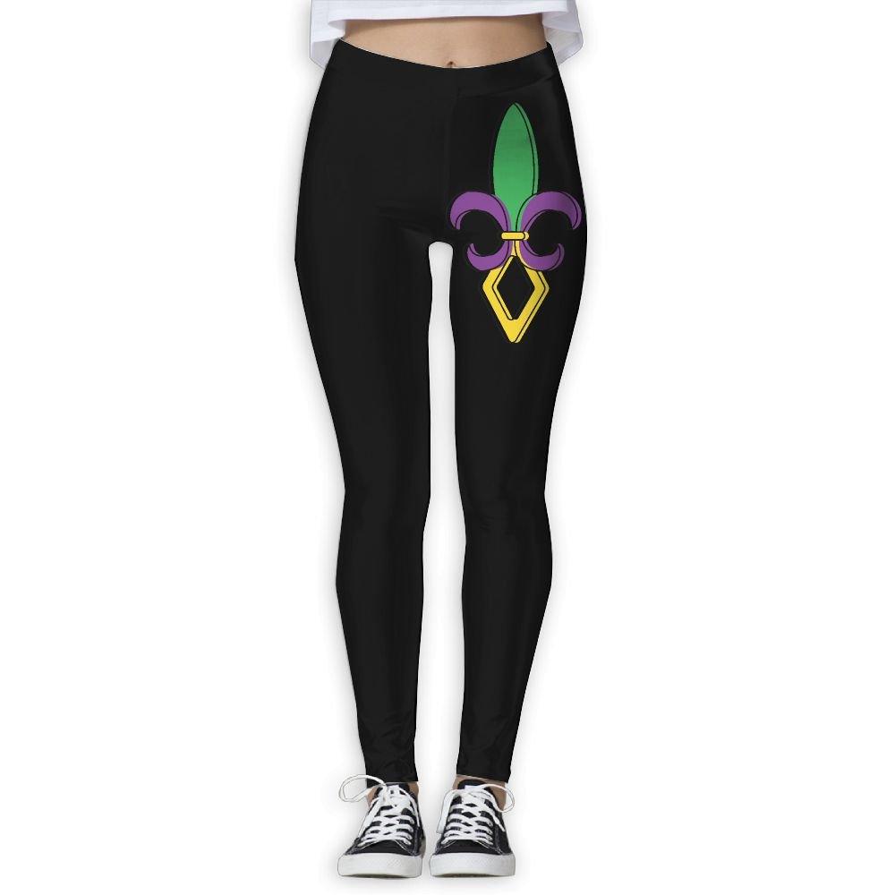 DDCYOGA Fleur De Lis Mardi Gras Women's Tights Activewear Yoga Leggings Workout Yoga Bike Pants For Girls