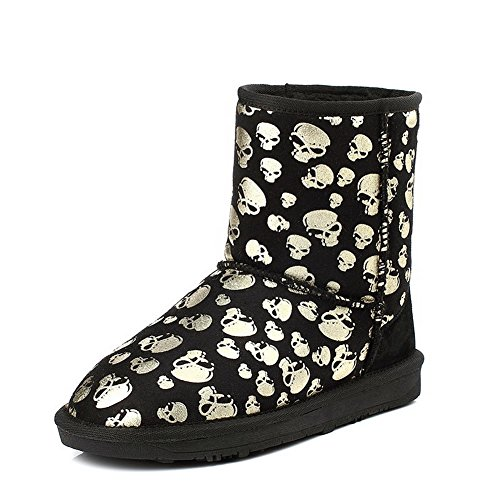 WeiPoot Womens Round Closed Toe Low Heels Cow Leather Solid Boots with Skull Heads