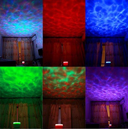 xtf2015 Multicolor Ocean Wave Light Projector, 12 Led, Blue, Red, Green, Multicolor, Mp3 Iphone Speaker LED Night Light