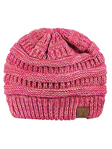 C.C Trendy Warm Chunky Soft Stretch Cable Knit Beanie Skully, 3 Tone Coral