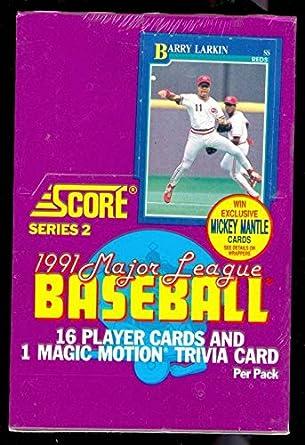 1991 Score Baseball Wax Pack Box Series 2 Set Mickey Mantle