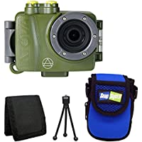 Intova DUB Waterproof Photo & Video Action Camera (Forest) + Intova Snap Sights Compact Neoprene Case SB21 + Tri-fold Memory Card Wallet + Table Top Tripod + Deluxe Accessory Bundle
