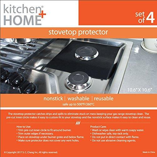 Kitchen + Home StoveTop Protectors – Set of 4 Nonstick Heavy Duty Reusable Stove top Gas Burner Liners - 100% PFOA & BPA Free