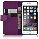 """iPhone 6s Case - Leather Wallet Flip Cover for iPhone 6 / 6s 4.7"""" , Purple"""