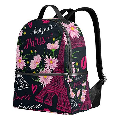 Paris Black Eiffel Tower Backpack for Women Teen Girls Purse Fashion Bag Bookbag Children Travel College Casual Daypack Boy Preschool Homecoming Back to School Supplies -