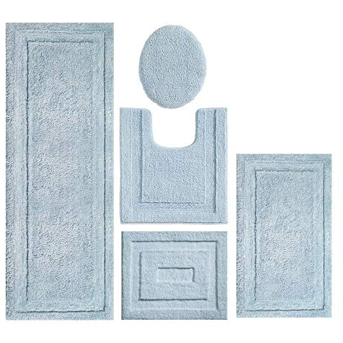 mDesign Soft Microfiber Polyester Bathroom Spa Rug Set - Water Absorbent, Machine Washable, Plush, Non-Slip - Includes 3 Rectangular Accent Rugs, Contour Mat, Toilet Lid Cover - Set of 5 - Water Blue