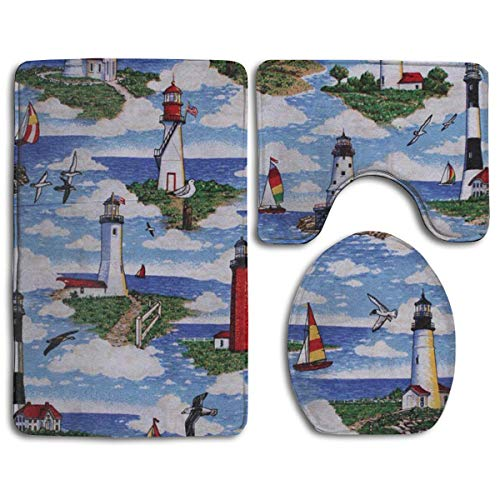 (Ptrfedss Lighthouses Scene Big Sable Fashion Bathroom Rug Mats Set 3 Piece Anti-Skid Pads Bath Mat + Contour + Toilet Lid Cover)