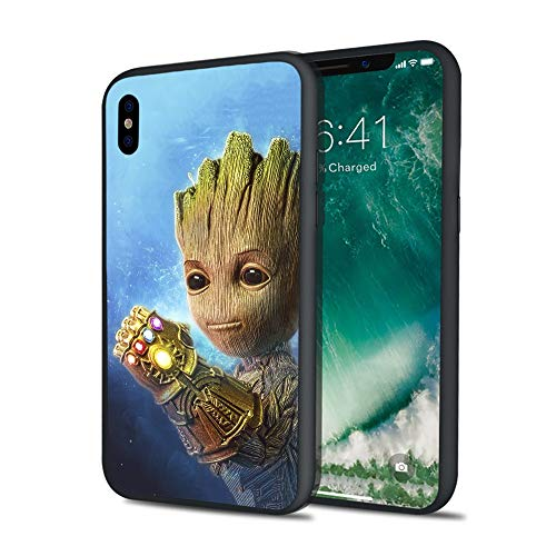 Luxury Little Baby Grut Galaxy Guardians Tanos War of Infinity Stylish Soft Silicone Cover Case for iPhone X 7 8 6 6s Plus XS XS MAX (iPhone X)