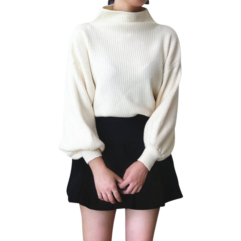 Amazon | [モノジー] MONOZY レディース バルーンスリーブ ゆる ニット 選べる色 フリーサイズ ハイネック ドルマンスリーブ 長袖 フェミニン リブニット (2) ホワイト) | セーター 通販