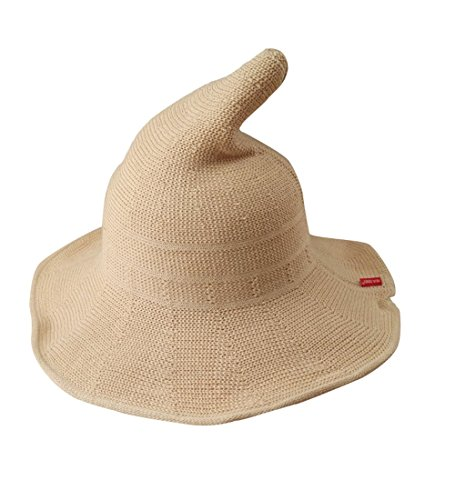 Luoke Women Summer Witch Cotton Sun Hat Foldable Costume Ball Hat Cap (Cream)]()
