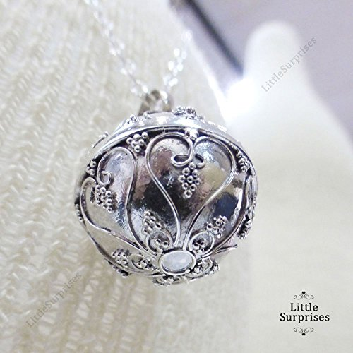 16mm-Angel-Caller-Hearts-Chime-Sound-Harmony-Ball-Bali-Sterling-Silver-Pendant-24-Necklace-LS78