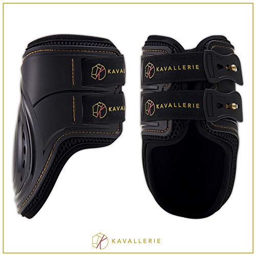 Fly Boots Shoes - Fetlock Boots for Horses by Kavallerie: Pro-K 3D Air-Mesh Showjumping, Horse Jumping Fetlock Boots, Lightweight with Breathable Soft Padding for Less Sweat and Rubs [Black]
