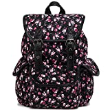 Kenox Casual Style Canvas Travel School College Shoulder Bag/Bookbags/Daypack for Teenage Girls/Students/Women Floral