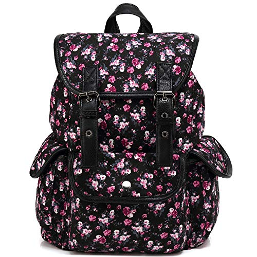 Kenox Casual Style Canvas Travel School College Shoulder Bag/Bookbags/Daypack for Teenage Girls/Students/Women Floral Pattern