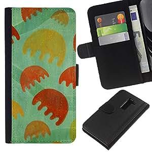 KLONGSHOP // Tirón de la caja Cartera de cuero con ranuras para tarjetas - Juego Dibujo minimalista de la flor verde - LG G2 D800 //