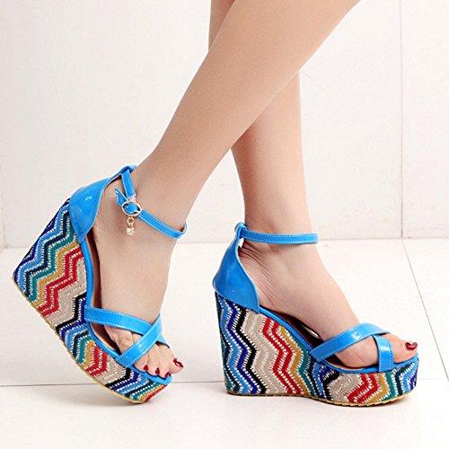 COOLCEPT Damen Mode Knochelriemchen Sandalen Open Toe Keilabsatz Schuhe Blau