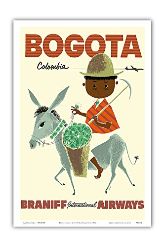 Bogota, Columbia - Braniff International Airways - Andes Boy with Colombian Emeralds - Vintage Airline Travel Poster c.1950s - Master Art Print - 12in x 18in ()