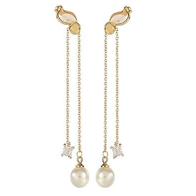 design élégant nouveau style et luxe Vente de liquidation 2019 Boucles d'oreilles à clip double pendants à perles pour oreilles non  percées, strass et cristal, couleur dorée