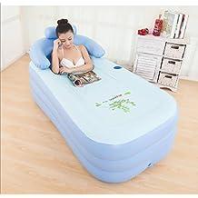 ASIBG Home Large inflatable bathtub holding adult tub bath barrel,Blue 155×84×45cm