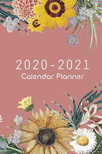2020-2021 Calendar Planner: Pink Cover And Sun Flower, 24 Months and Weekly Calendar Organizer with Holidays Pocket Size